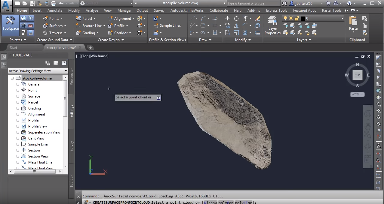 Workflow: Calculating a Stockpile Volume from Point Cloud Data using Civil 3D